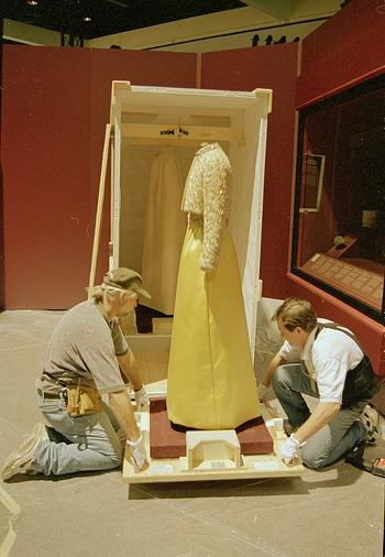 Unpacking Patricia Nixon's Inaugural Gown at LA Convention Center