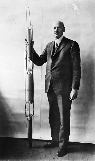 Robert Hutchings Goddard with Rocket