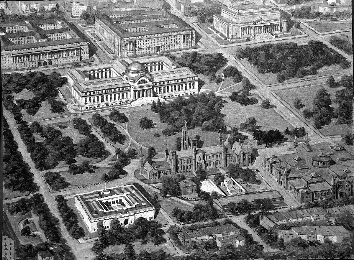 Aerial View of Smithsonian Buildings, 1933