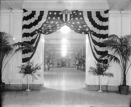 Foyer of Natural History Building Decorated in Flags