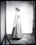 Unidentified Woman Models Silk Gown