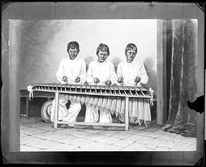 Painting of Three Men Playing Marimba