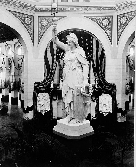 Statue of America in the U.S. National Museum Decorated for Garfield Inaugural Ball