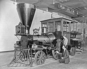 """Locomotive """"Pioneer,"""" Railroad Hall, NMHT"""