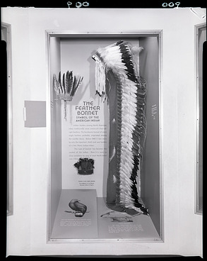 """""""The Feather Bonnet: Symbol of the American Indian"""" Exhibit Case"""
