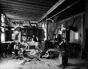 William T. Hornaday and Andrew Forney in the Model and Taxidermy Shop