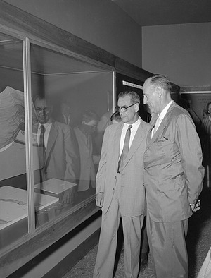 G. Arthur Cooper and C. Lewis Gazin View Newly Renovated Fossil Exhibit