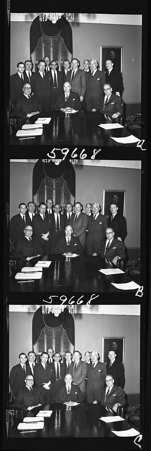 Group Portrait of Smithsonian Secretariat in Regents' Room