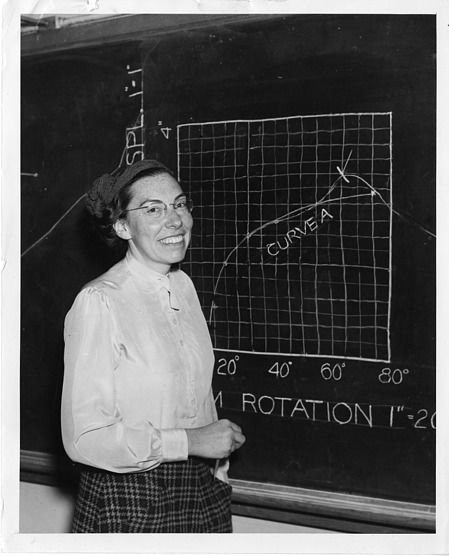 Mary Blade, standing at blackboard