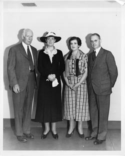 (l to r): Kendall Emerson (1907-1993), Alix Churchill, Eleanor Brown Merrill (b. 1887), Frederick D. Hopkins
