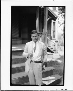 E. Haldeman-Julius, standing in front of Defense Mansion, Dayton, Tennessee