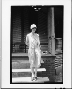 "Tennessee v. John T. Scopes Trial: Ova Corvin (""Precious"") Rappleyea, standing on steps of the Defense Mansion"