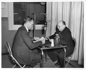 Watson Davis (right) and Dr. Raymond D. Garver (left) of U.S. Forest Survey on air January 20, 1945
