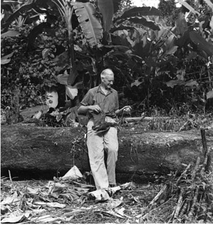 Alexander Wetmore in Panama Holding an Agami Heron