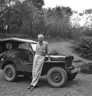 Alexander Wetmore Leaning Against an Army Air Force Jeep