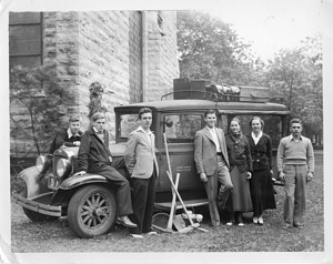 Beloit College archeological expedition members. Jordan Jeptha Markham (1916-2001), Thomas G. Coleman (1918-2007), Andrew Hunter Whiteford (1913-2006), Paul Homer Nesbitt (1904-1985), Barbara Rivet (1914-1990), Shirley Webb Kretschmer (1914-2016), and John William Bennett (1915-2005)