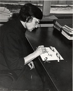 Roxie Collie S. Laybourne (1910-2003), identifying bird feathers, c. 1944