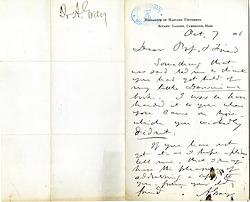 Asa Gray to Joseph Henry, letter dated October 7, 1876