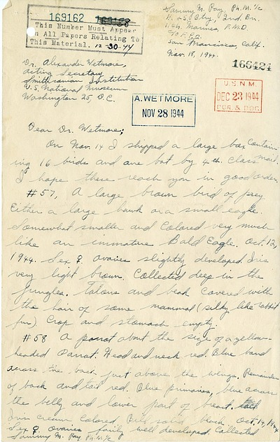 Letter from Sammy Ray to Alexander Wetmore, November 18, 1944