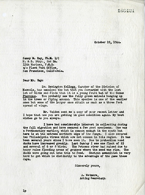 Letter from Alexander Wetmore to Sammy Ray, October 19, 1944