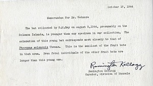 Note from A. Remington Kellogg to Alexander Wetmore, October 17,1944