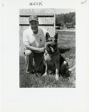 Don Bartel with German Shepherd, Major
