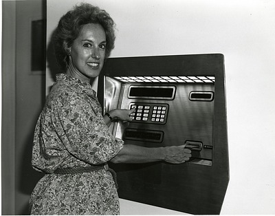 Ann Leven Using the First ATM in the National Air and Space Museum