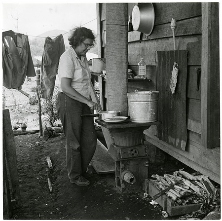 Bea Wetmore at a Cook Stove