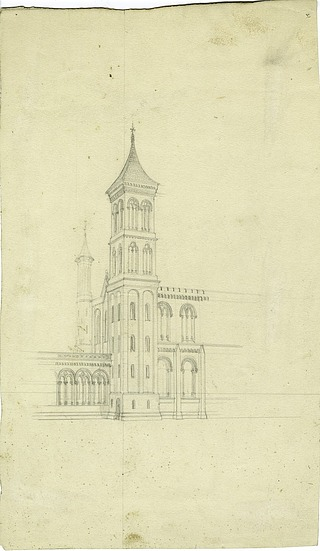 Perspective of the Smithsonian Institution Building's Northeast Tower