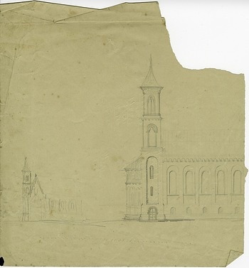 West Wing and Range of Castle Completed, August 12, 1848, Smithsonian Archives - History Div.