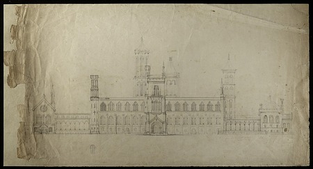 Preliminary Elevation of the Smithsonian Institution Building's South Facade