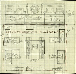 Sketch of Smithsonian Exhibit at Panama-Pacific International Exposition