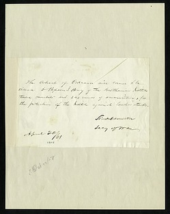 Simon Cameron's Letter to Henry Knox Craig (April 20, 1861)