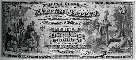 Five dollar bill created by the National Currency Act of February 25, 1863