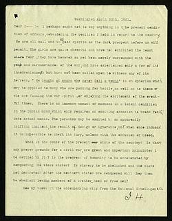 Joseph Henry Letter to Stephen Alexander (April 26, 1861)