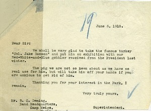"Letter from Ned Hollister to Mr. R. C. Deming about the turkey ""Col. Jake Dawson"""