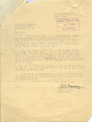 Letter from Mr. R. C. Deming to Zoo Superintendent Ned Hollister