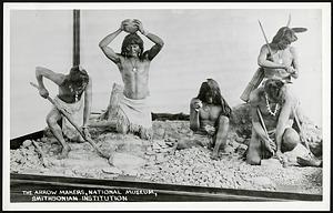 Postcard of Native American Arrow Makers