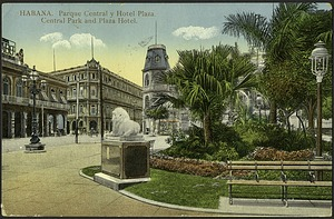 Postcard of Habana Central Park and Plaza Hotel