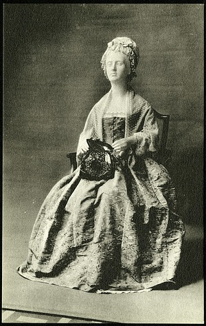 Grayscale Postcard of Dress of Martha Washington