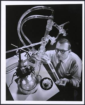 """General Electric Scientist Dr. Herman L. Finkbeiner℗ Creating a """"Bubble Cap."""""""