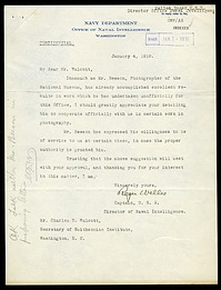 Letter from Captain Roger Welles to Charles D. Walcott, January 4, 1918