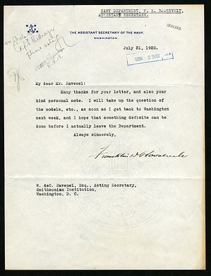 Letter from Franklin D. Roosevelt to William deC. Ravenel, July 31, 1920
