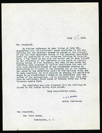 Letter from William deC. Ravenel to President Woodrow Wilson