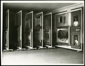 Photograph of American Paintings Hanging on Rolling Storage Racks