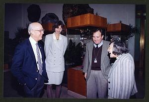 "Robert W. Fry, Sarah Grusin, Robert Laybourne, Roxie Laybourne at ""Feather Focus"" Exhibit"