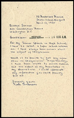 Handwritten letter by Viola Anderson