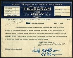 Telegram from Clarance Darrow, dated July 7, 1925.