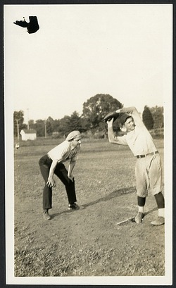 """Fred August Moss (1893-1966) (at left) umpires a softball game as part of the George Washington University """"Sleeplessness Test"""" weekend"""