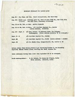 Itinerary for Watson Davis's European Trip